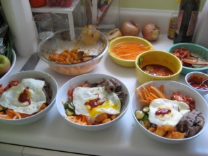 Bibimbap and banchan sides